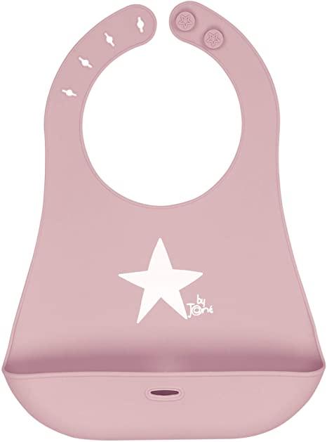 babero de silicona enrrollable rosa jane