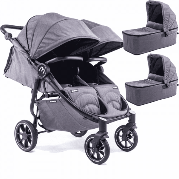 easy twin 4 Baby Monster Gris con capazo 2