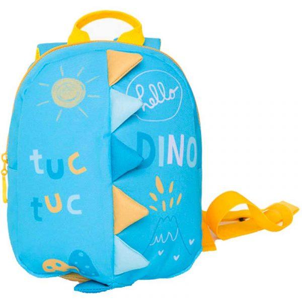 mochila guarderia neopreno hello dino azul tuc tuc
