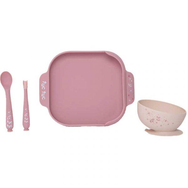 set vajilla silicona little forest rosa tuc tuc